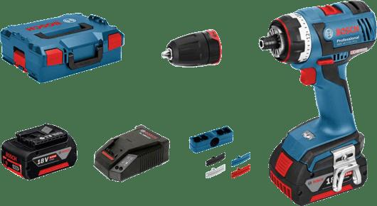 în L-BOXX cu 2 x acumulator litiu-ion de 4,0 Ah, adaptor de mandrină GFA FC2 Professional de 13 mm (1 600 A00 1SL)