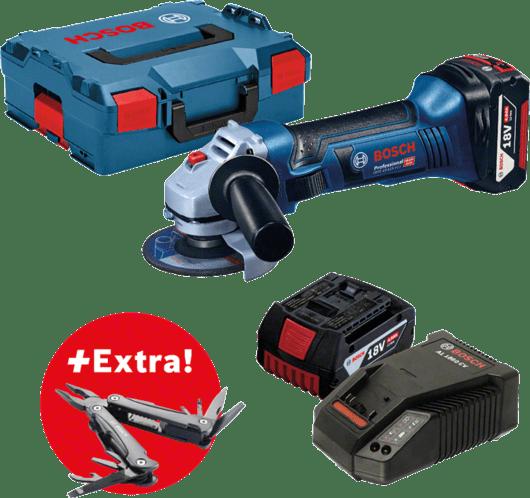 Profesionálna súprava: akumulátorová uhlová brúska GWS 18-125 V-LI + 2× akumulátor GBA 18V 4.0Ah, vkufri L-BOXX 136 + multifunkčné náradie Swiss Peak Professional