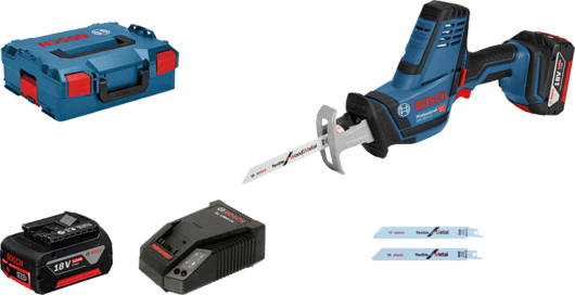 in L-BOXX with 2 x 5.0 Ah Li-ion battery, sabre saw blade