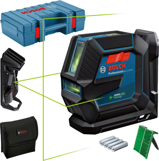 in carrying case with 4 x battery (AA), laser target plate