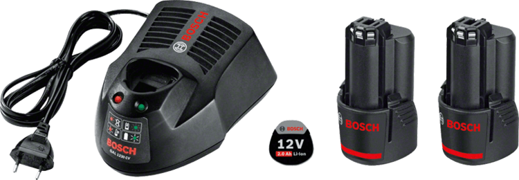 2 x GBA 12V 2.0Ah + GAL 1230 CV Professional