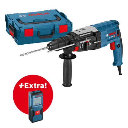 Professional készlet: GBH 2-28 F fúrókalapács + GLM 30 lézeres távolságmérő L-BOXX tárolóban Professional