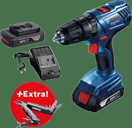 Profesionalni set: akumulatorska udarna bušilica GSB 180-LI + 2 x GBA 18V 1.5Ah akumulator + višenamjenski alat Swiss Peak Professional