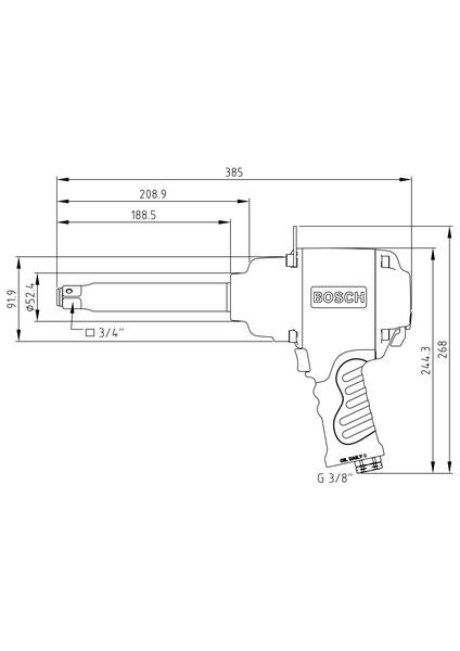 """3/4"""" impact wrench with spindle extension"""